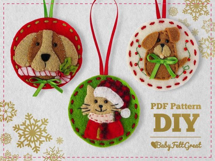 felt dog ornaments