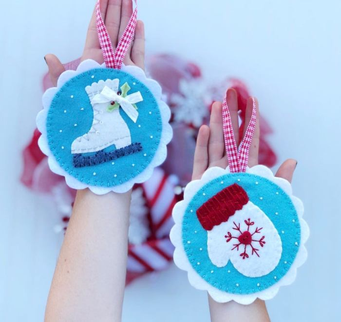 felt ice skate and mitten ornament pattern