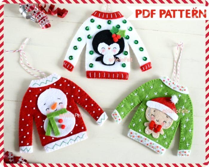 Christmas sweater felt ornaments