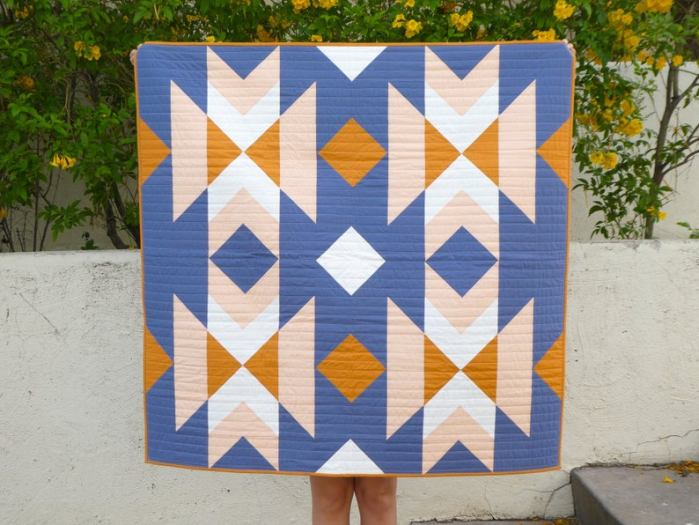 aztec quilt with blue peach and goldenrod colors