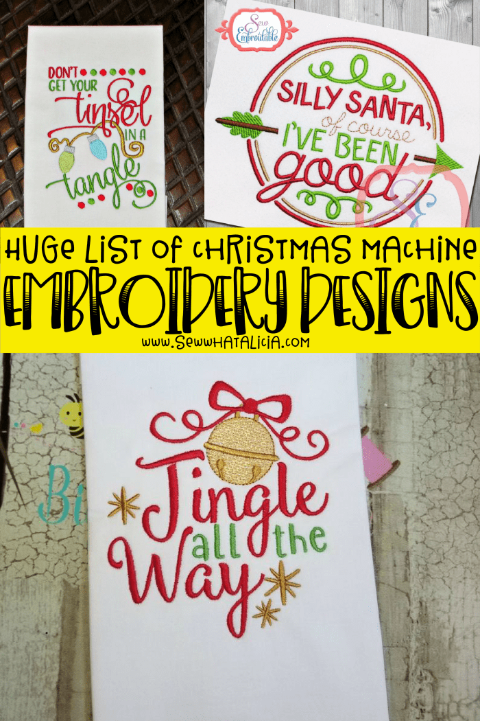 Christmas Machine Embroidery Designs: Click through for a huge collection of Christmas machine embroidery designs to add the perfect touch to your holiday crafting. | www.sewwhatalicia.com