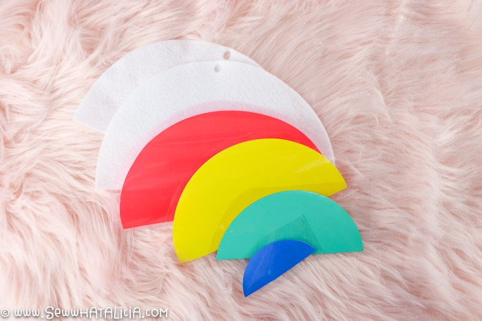 pictured rainbow color htv cut into pieces