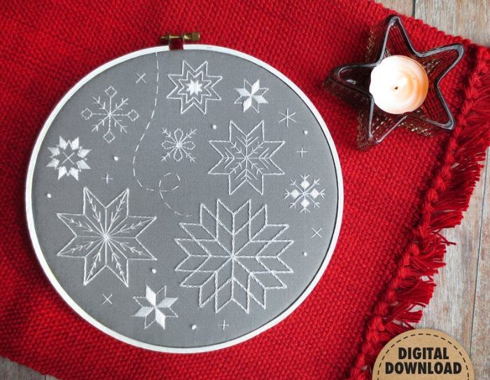hand embroidered snowflakes