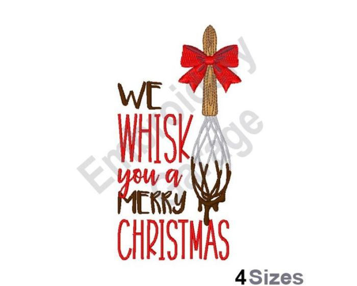 "wisk dipped in chocolate with saying ""we wisk you a merry christmas"""