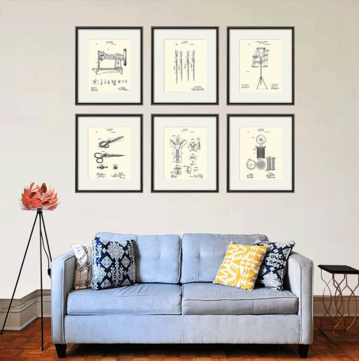 6 vintage inspired sewing prints to hang on wall