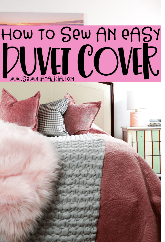 pictured finished duvet cover on bed with throw pillows