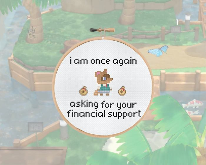 pictured tom nook from animal crossing with words i am once again asking for your financial support