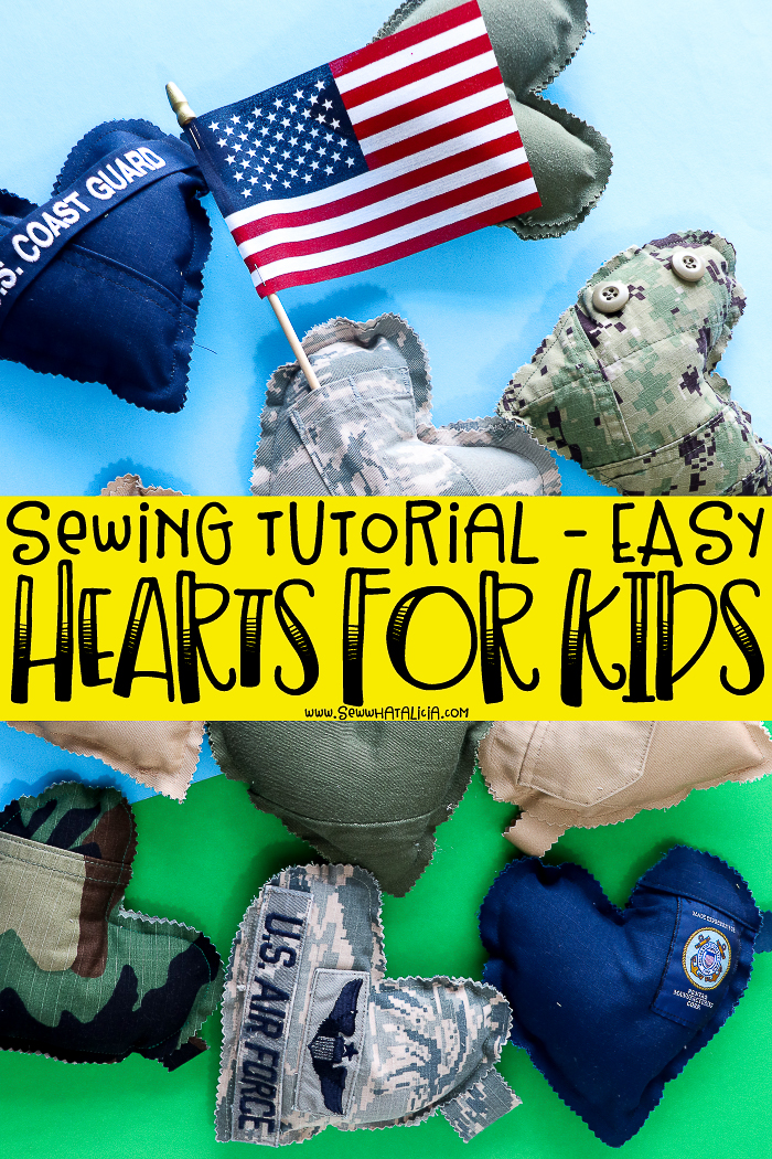 pictured: multiple hearts made from military uniforms on a green and blue background with wording sewing tutorial - easy hearts for kids