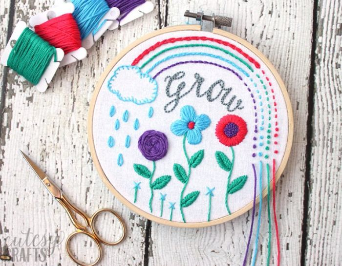 pictured rainbow with flowers and the word grow