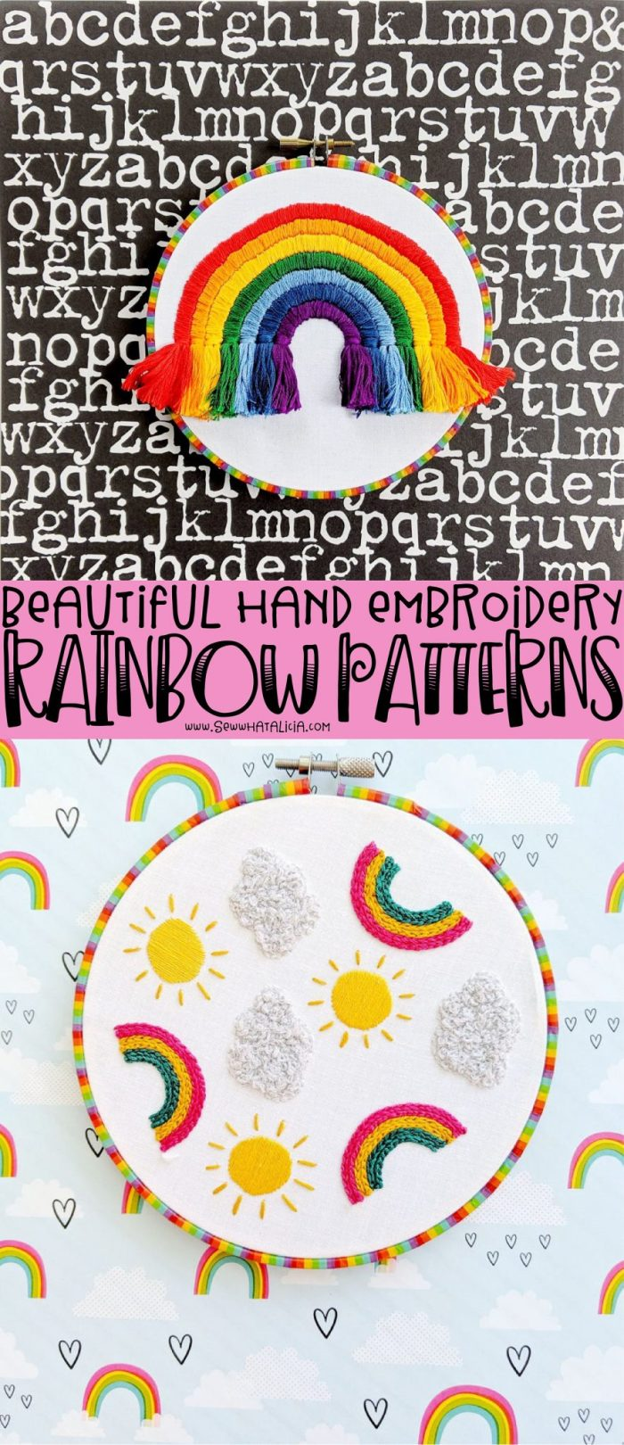 pictured rainbow hand embroidery hoops with words that say beautiful hand embroidery rainbow patterns