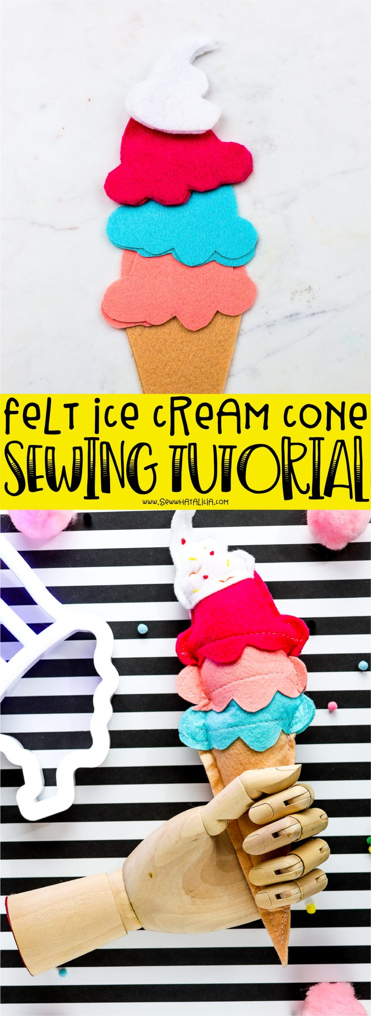 pictured stuffed felt ice cream cone