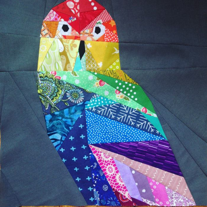pictured finished geometric owl quilt block