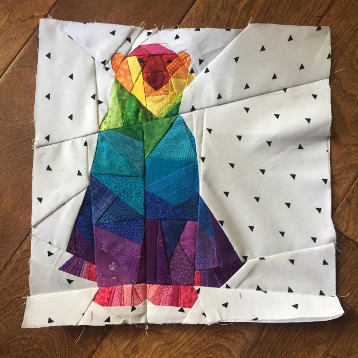 pictured finished rainbow polar bear block