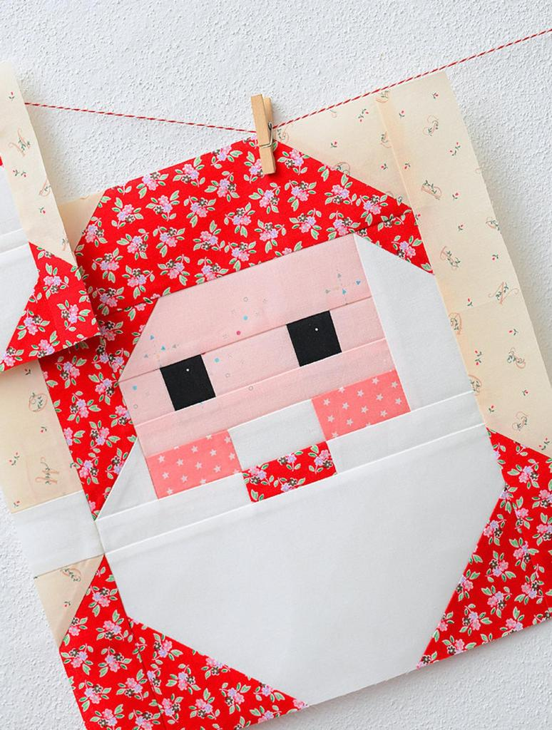 quilt block made to look like santa claus