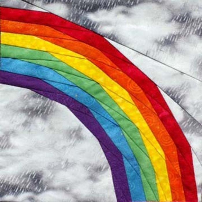 pictured rainbow pieced quilt block