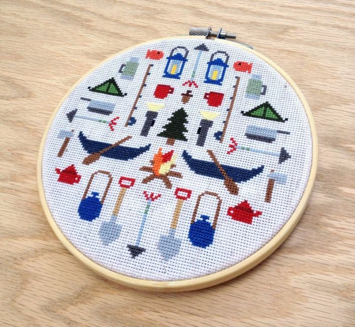 pictured completed camping cross stitch in hoop