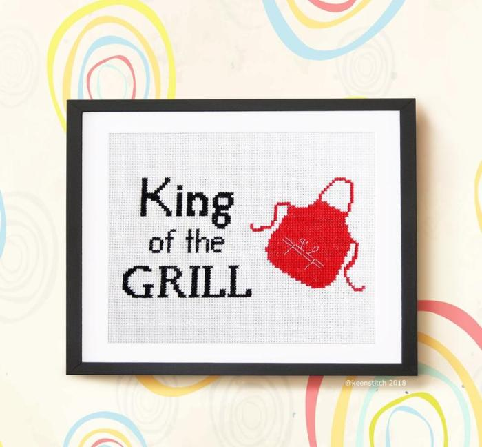 pictured king of the grill cross stitch pattern framed