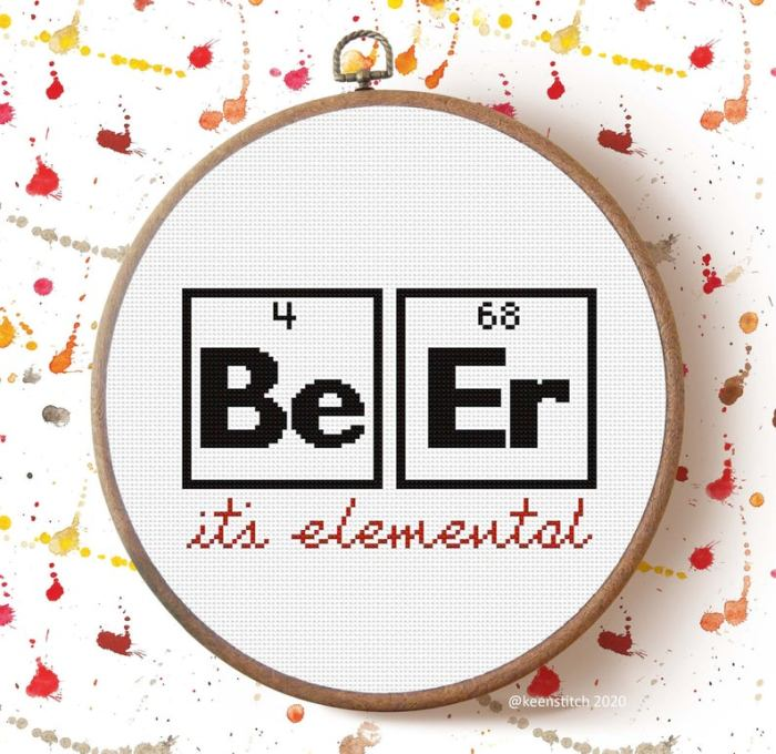 pictured BE ER its elemental cross stitch in a hoop