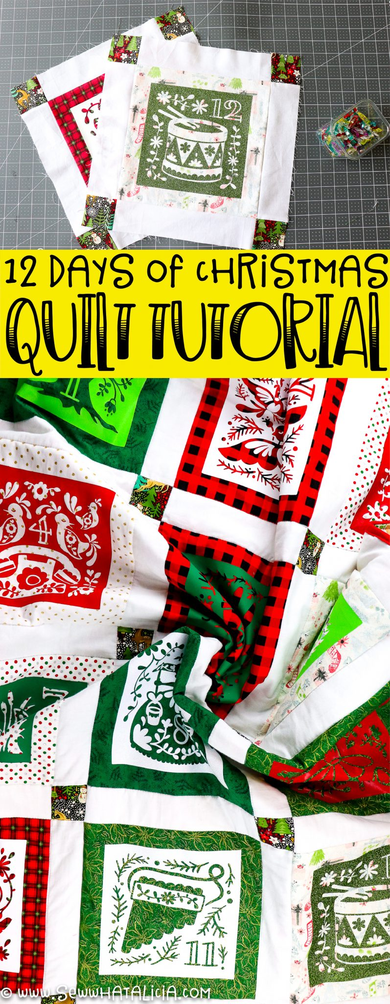 finished quilt with wording 12 days of christmas quilt tutorial