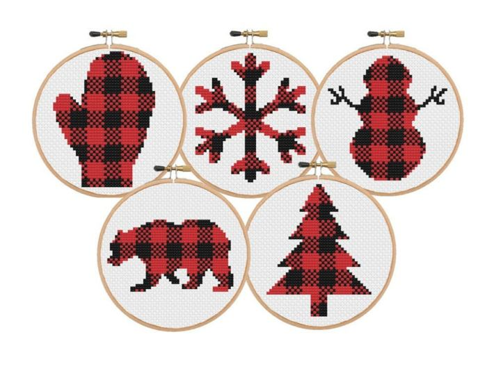 collection of 5 winter plaid christmas cross stitch ornaments