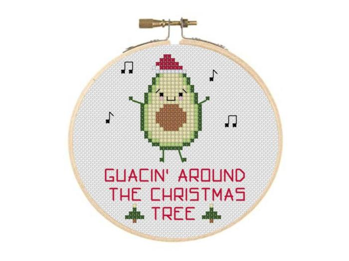 avocado in christmas hat with words guacin around the christmas tree