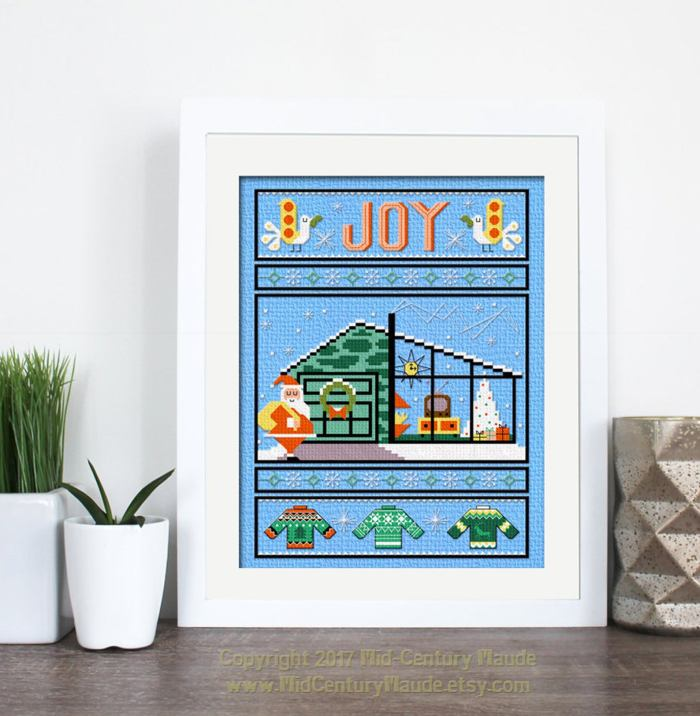 modern house and santa cross stitch sampler