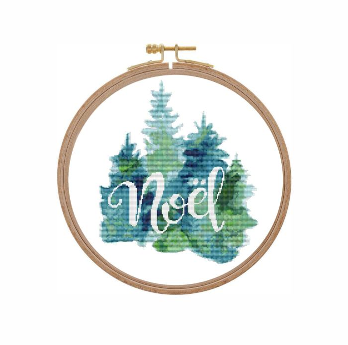 watercolor noel winter forest finished cross stitch in embroidery hoop