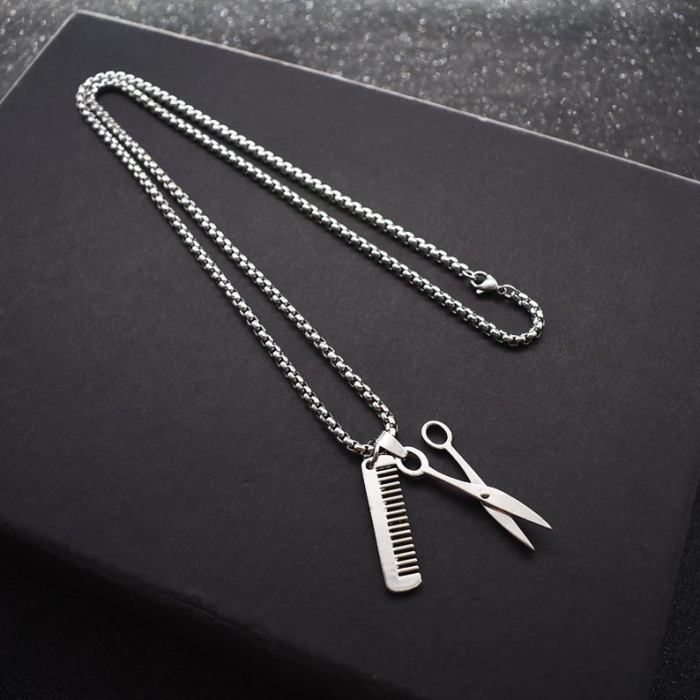 Barber's scissors and comb necklace
