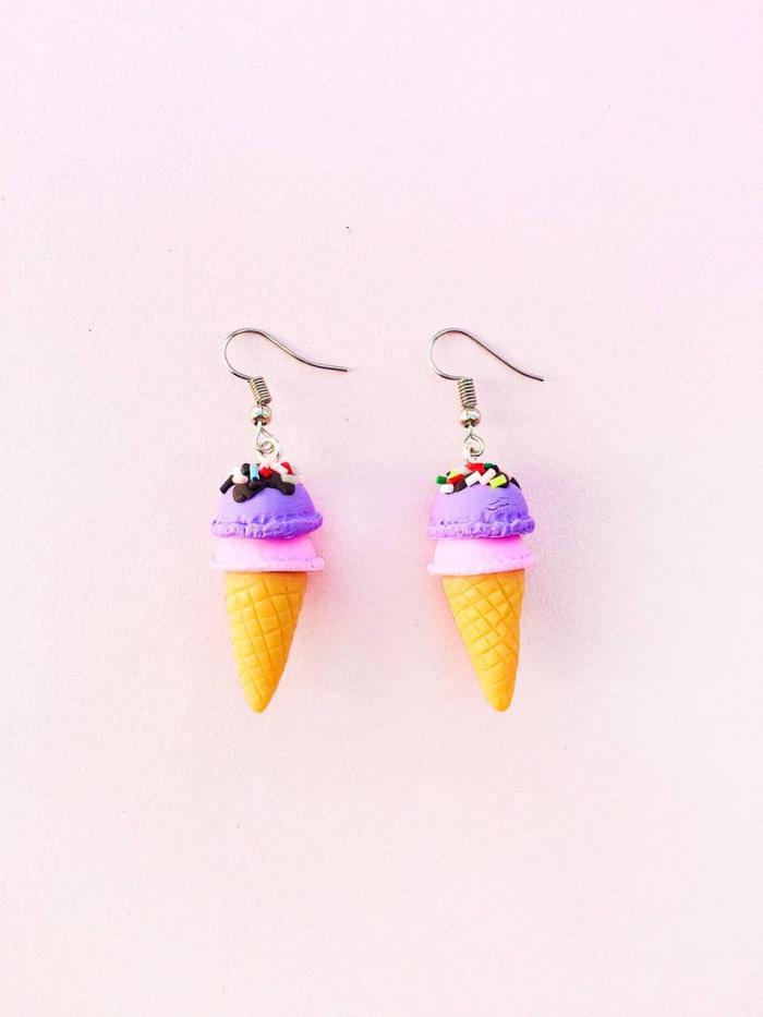 Pastel Ice Cream Cone Dangle Earrings