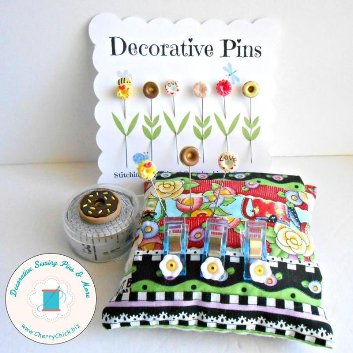 pincushion with doughnut pins piercing and decorative pins packaging
