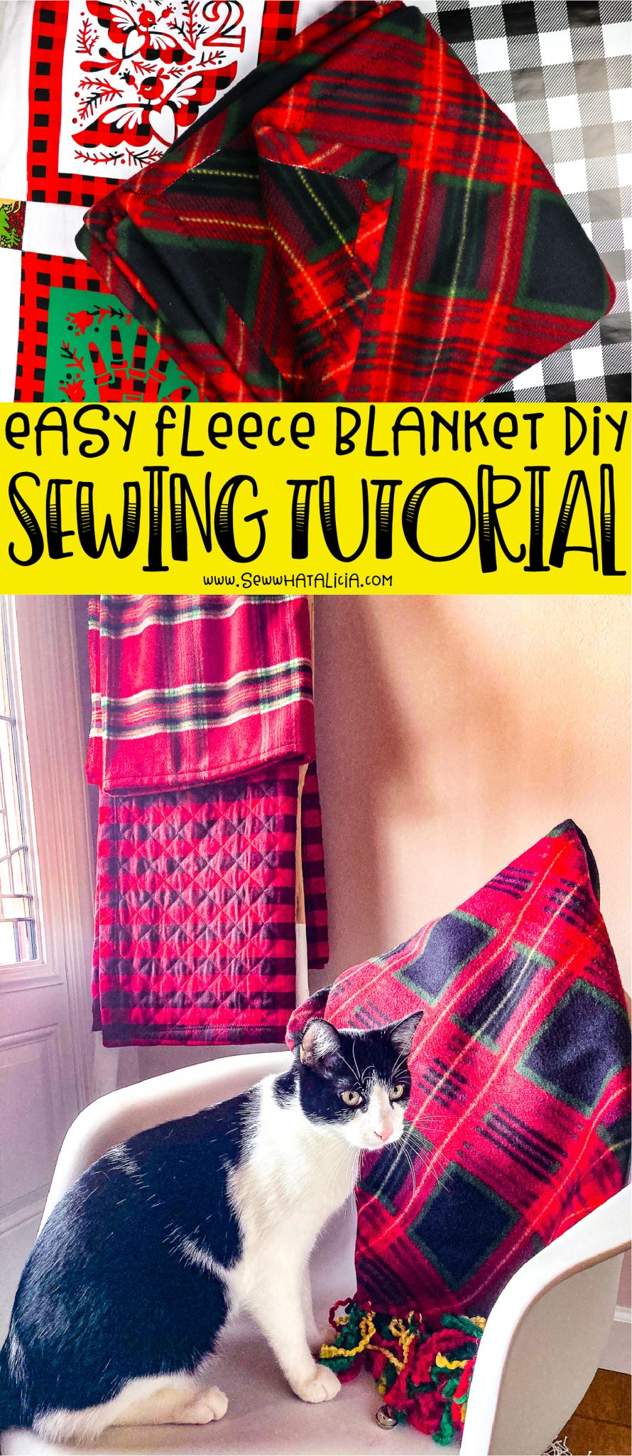 cat on chair with blankets in background, text reading diy easy fleece blanket sewing tutorial, blanket on chair with blankets on ladder in background