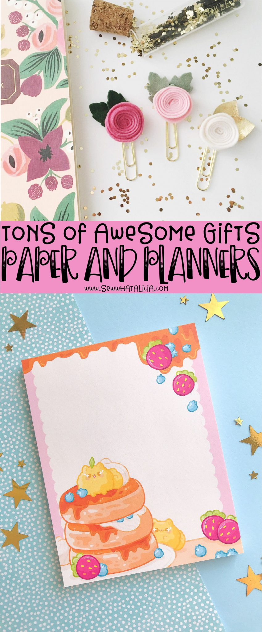 text overlay reading tons of awesome gifts paper and planners