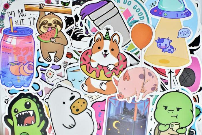 large collection of stickers featuring multiple cute animals
