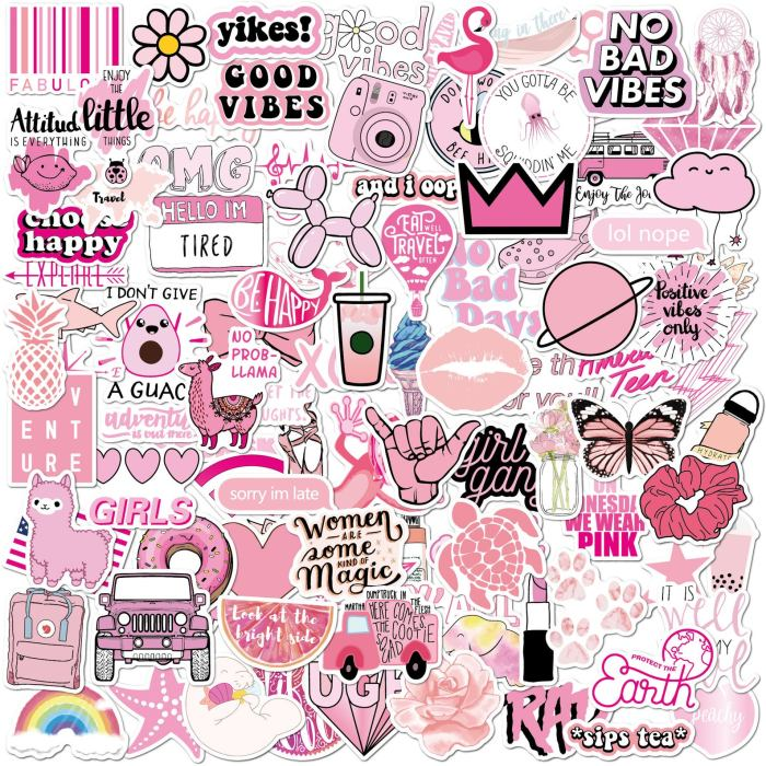 image of many pink stickers