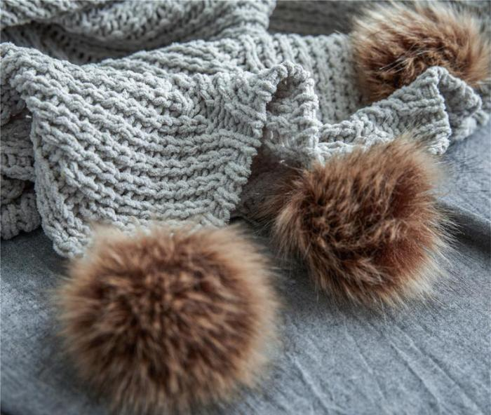 Gray Chenille Knitted Throw Blanket