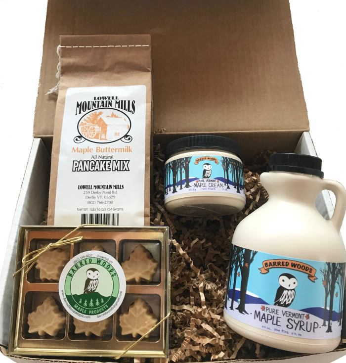 vermont maple gift box including maple syrup, pancake mix, maple cream, and maple candies