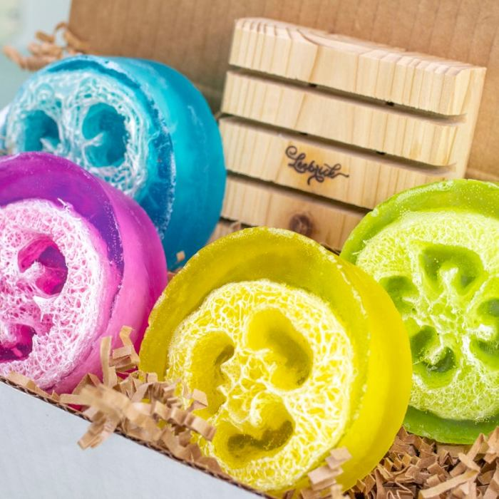 loofah soap gift box including colorful soaps with loofahs inside