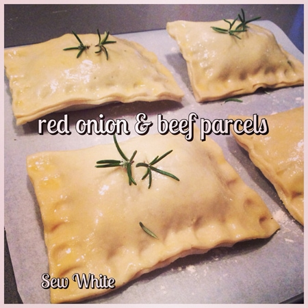 Sew White red onion beef parcels