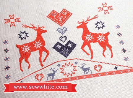 Sew White reindeer Christmas cross stitch pompom cushion 3