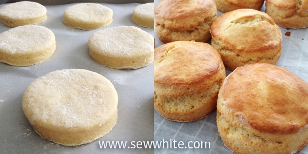 Before and after baking scones