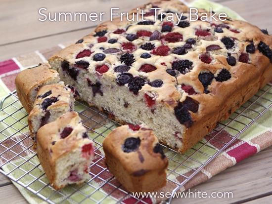 Sew White summer fruit cake tray bake 5