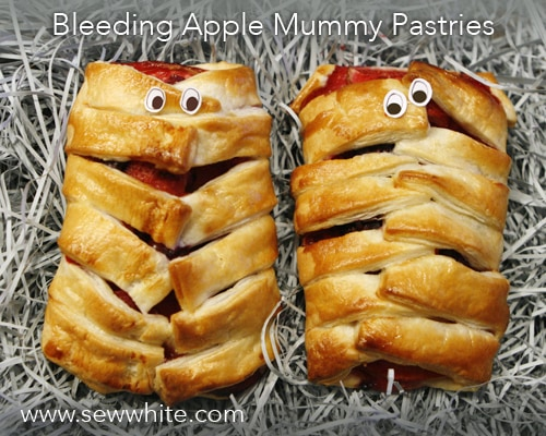 sew white bleeding apple mummy pastries 1