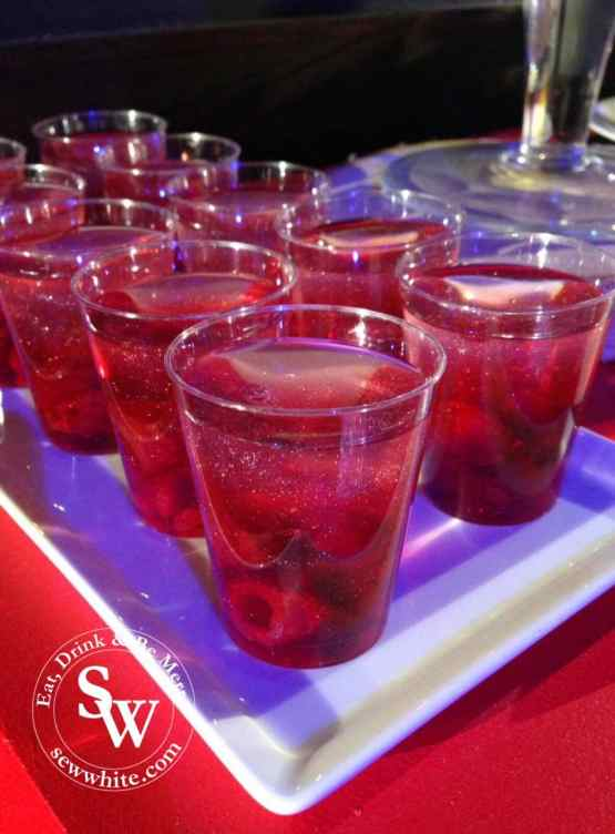 sparkling raspberry jelly in glasses