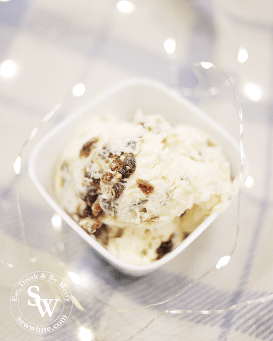 chunks of christmas pudding mixed into easy homemade no churn ice cream