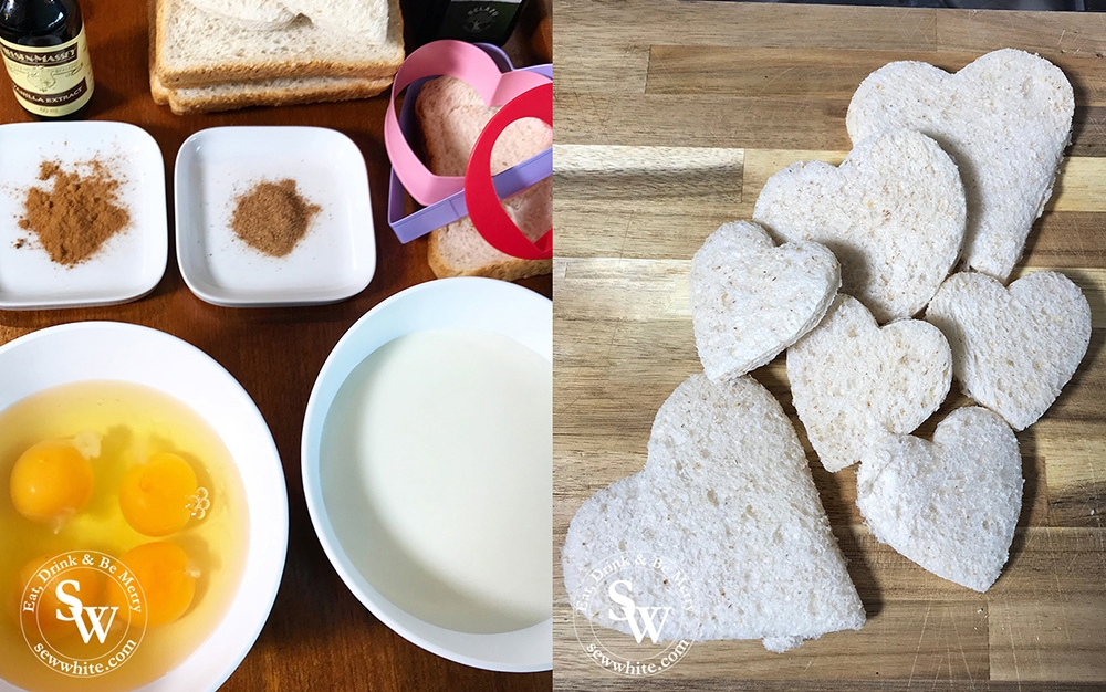 how to make the Valentine's French Toast, ingredients laid out ready