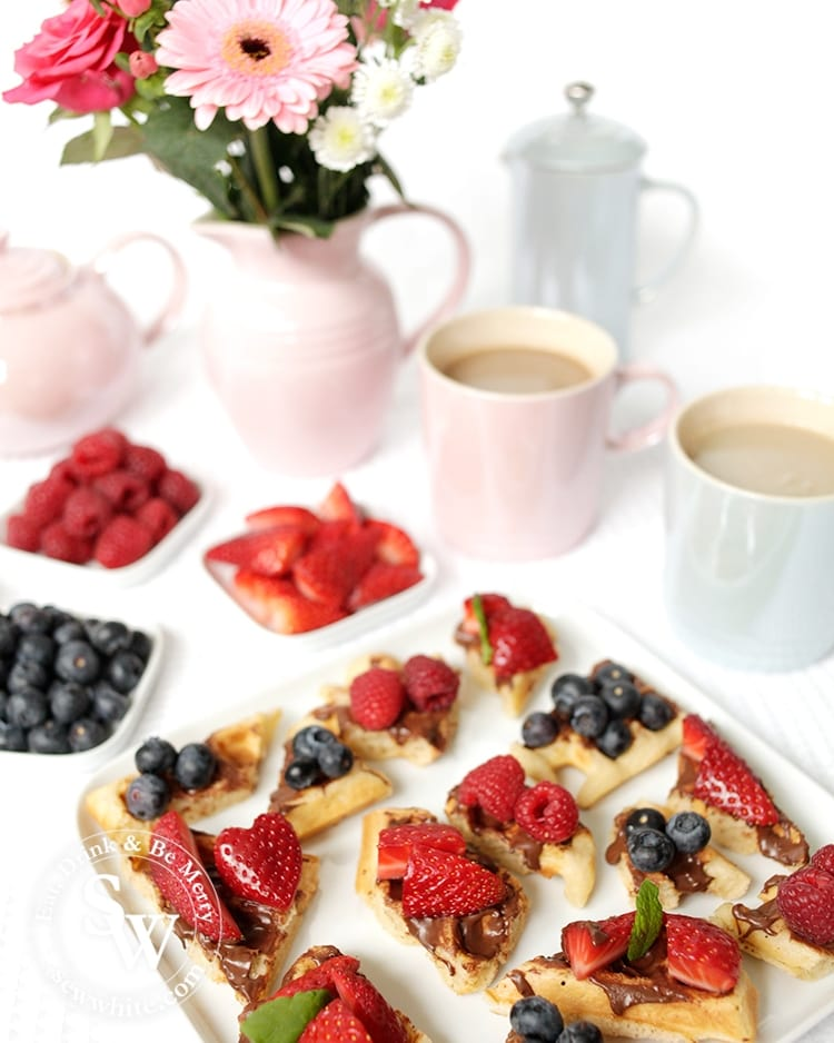 It's a great sweet treat for Afternoon Tea. Waffle Bites with nutella and topped with fresh berries.