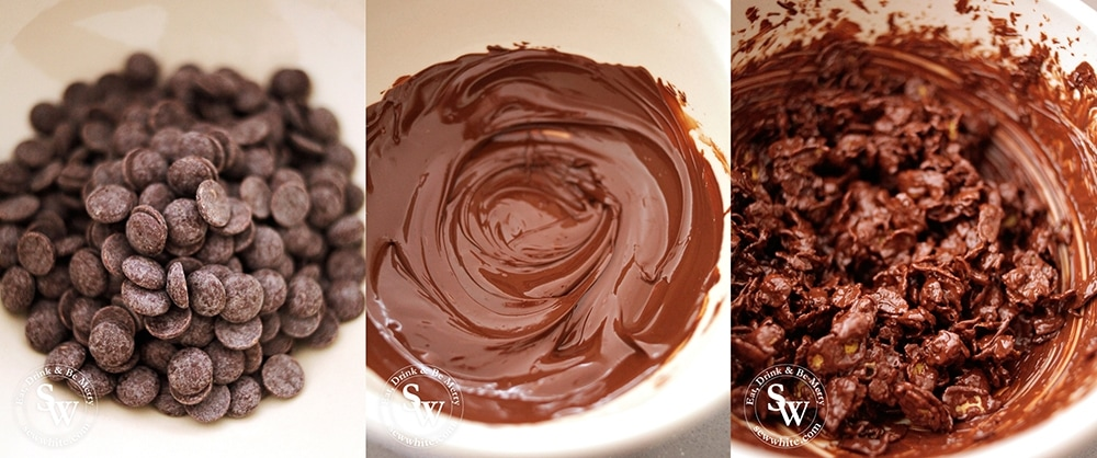 glistening chocolate melted down and stirred into chocoaltes