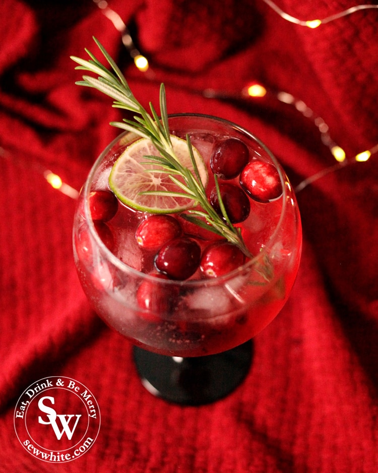 cranberry and rosemary gin and tonic with cranberries in the glass