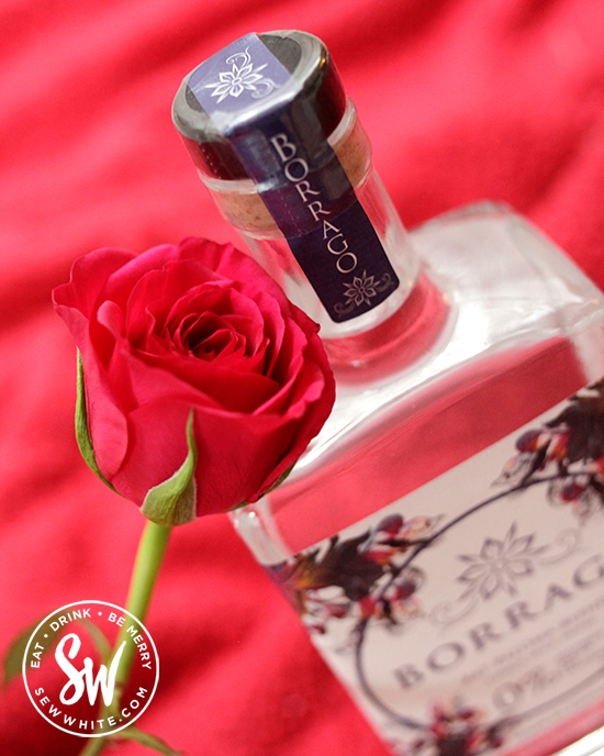 A valentine's Day rose with a bottle Borrago.