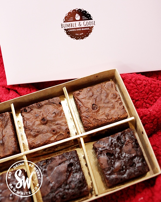 Brownies by post by bumble and goose for Valentines day